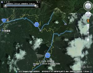 塩山駅から大菩薩の湯までのルート